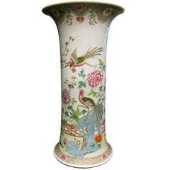 Chinese Famille Rose Beaker Shaped Vase