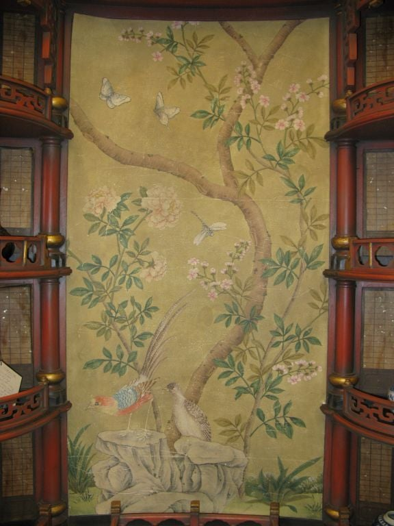 A large and fantastic chinoiserie display cabinet. Each side has four shelves in the form of balconies, each with different fence styles.