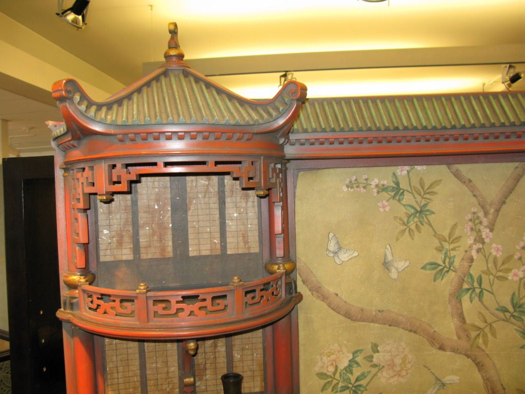 Carved Vintage Chinoiserie Pagoda Form Display Cabinet For Sale