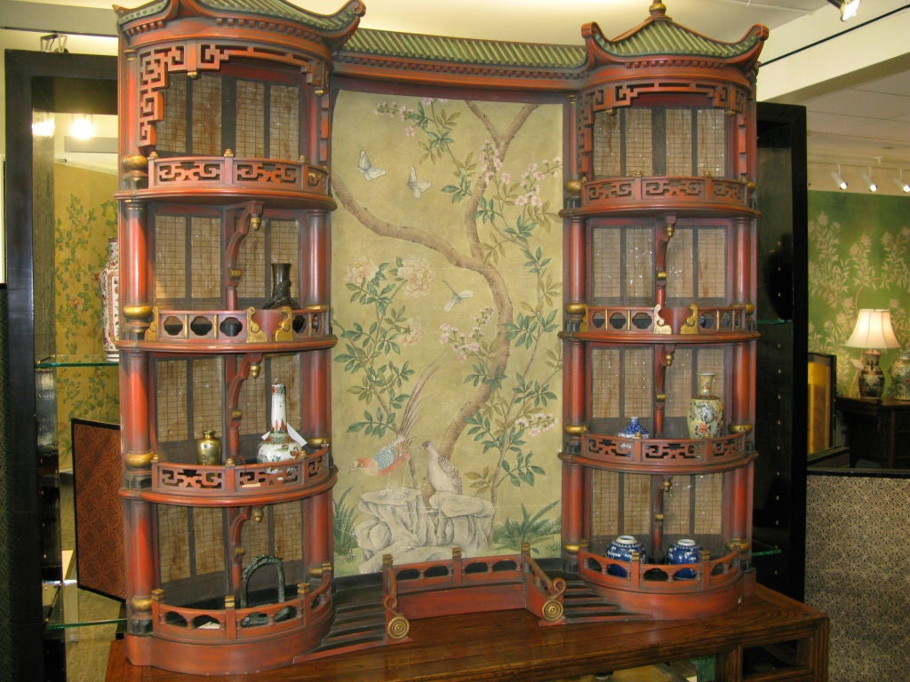 Mid-20th Century Vintage Chinoiserie Pagoda Form Display Cabinet For Sale