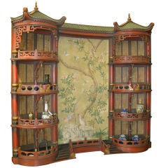 Vintage Chinoiserie Pagoda Form Display Cabinet