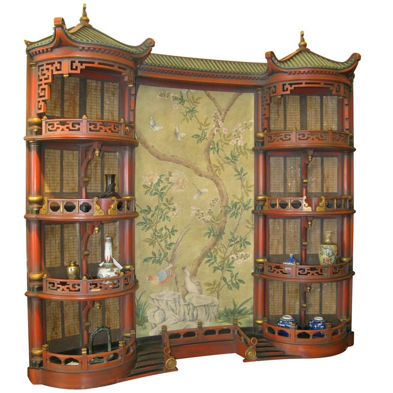 Vintage Chinoiserie Pagoda Form Display Cabinet 1