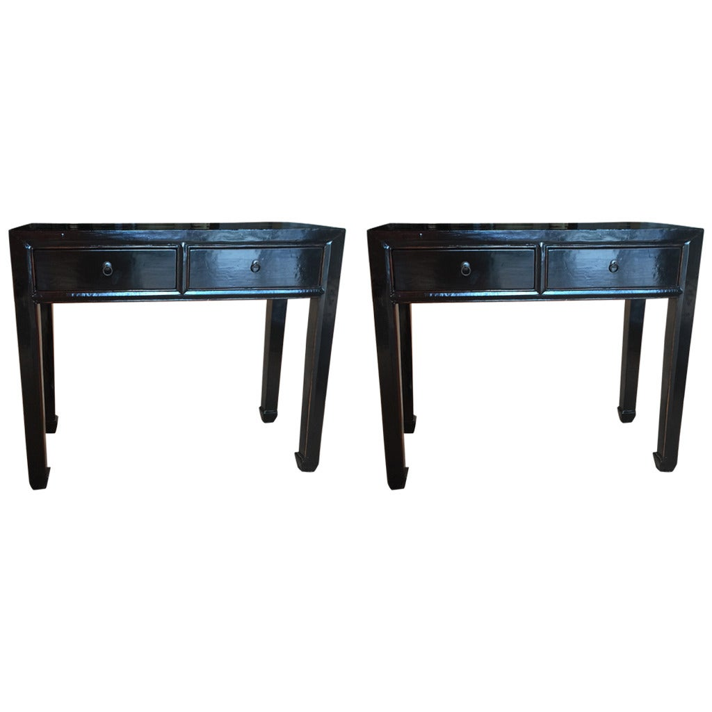 Pair of chinese black lacquer consoles at 1stdibs for Chinese black lacquer furniture