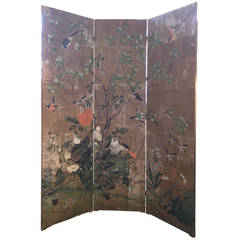 Three Panel Screen with Vintage Gracie Wallpaper, circa 1940s