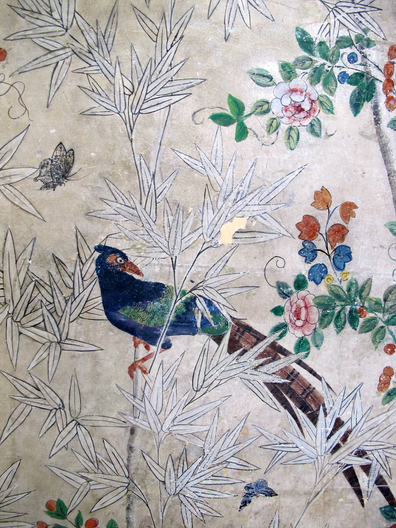 18th Century Hand-Painted Chinese Wallpaper Screen 2