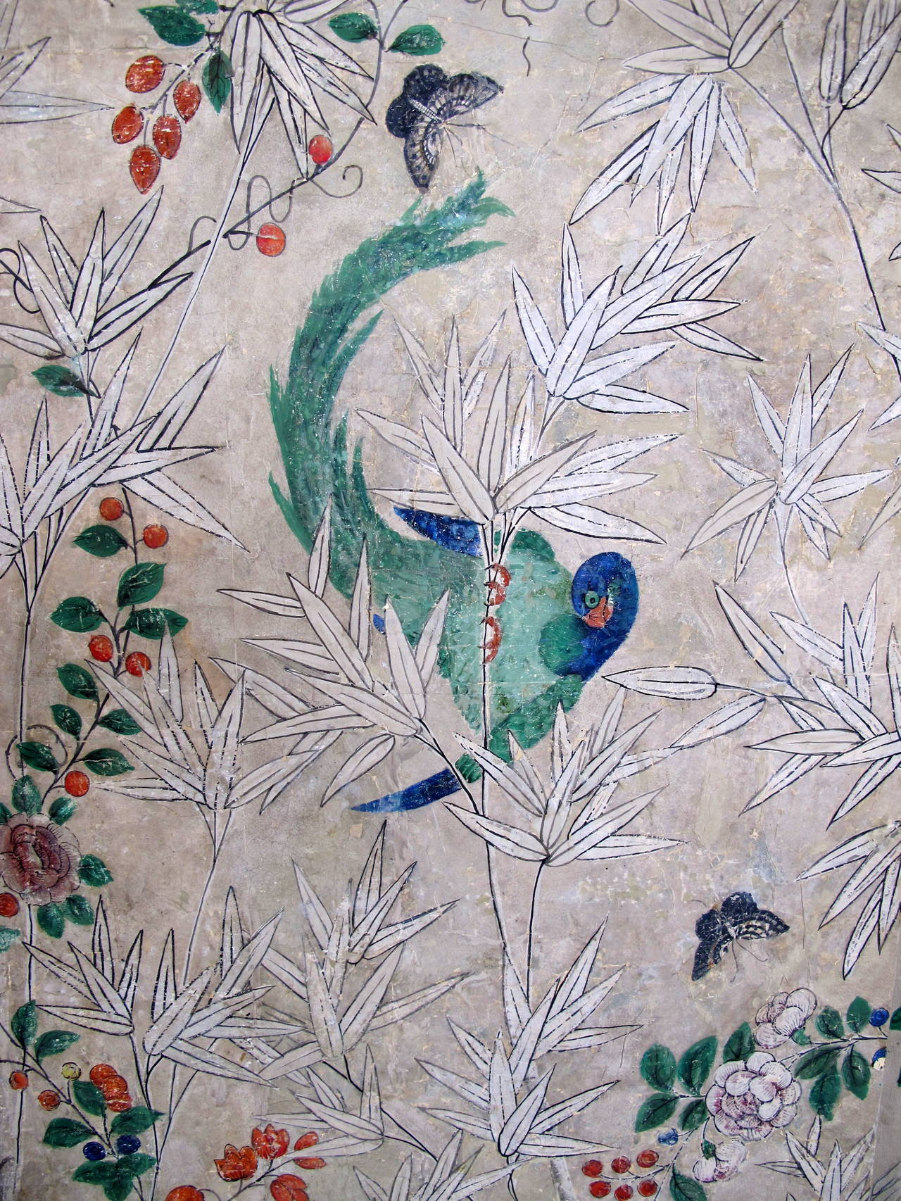 18th Century Hand-Painted Chinese Wallpaper Screen 5