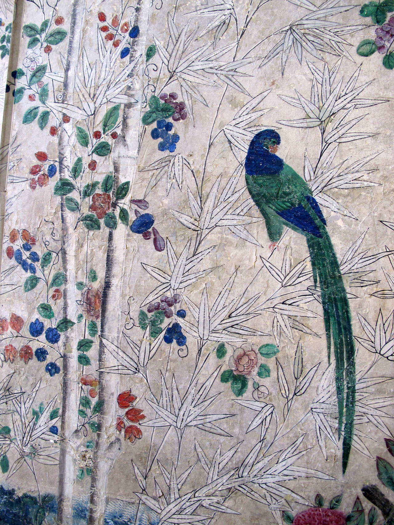18th Century Hand-Painted Chinese Wallpaper Screen 6