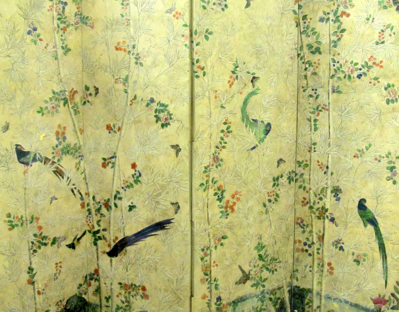 18th Century Hand-Painted Chinese Wallpaper Screen 4