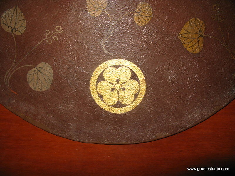Wood 19th Century Japanese Hat on Lacquer Panel For Sale