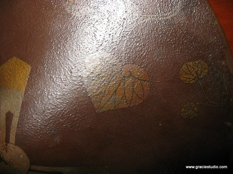19th Century Japanese Hat on Lacquer Panel For Sale 2