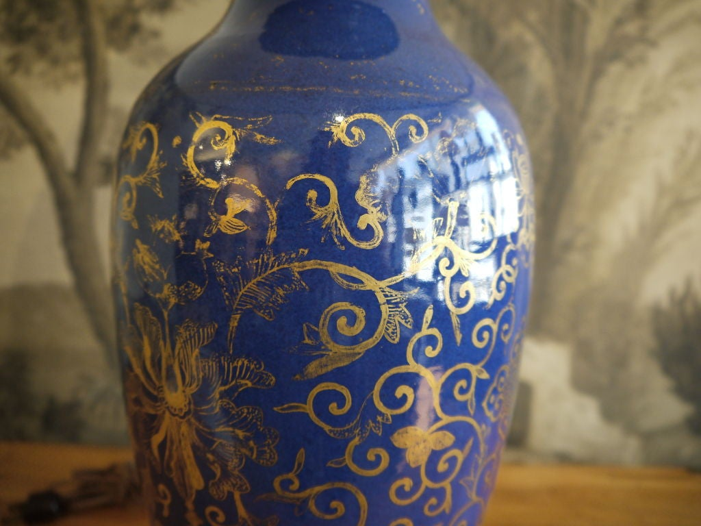 19th Century Cobalt Blue Chinese Vase, as Lamp For Sale