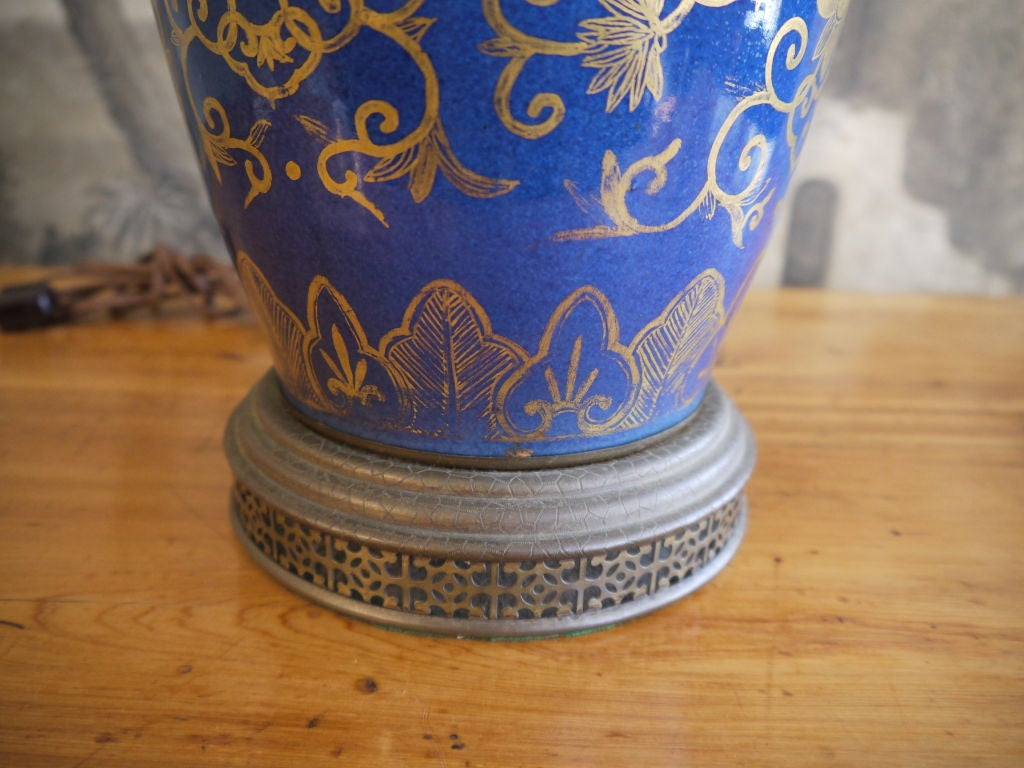 Cobalt Blue Chinese Vase, as Lamp For Sale 1