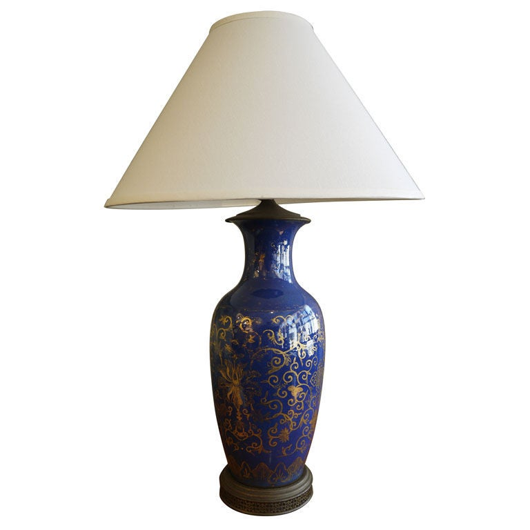Cobalt Blue Chinese Vase, as Lamp For Sale