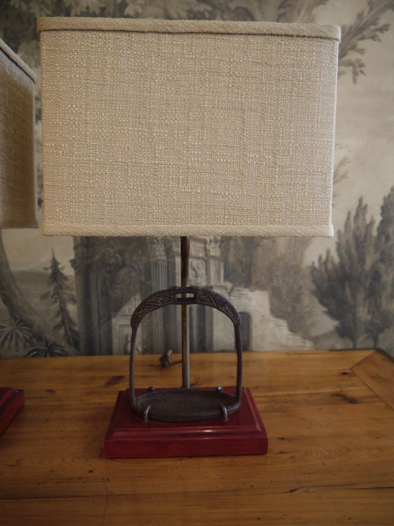 19th Century Pair of Antique Chinese Brass Stirrups, Mounted as Lamps Bases For Sale