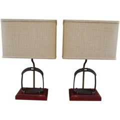 Pair of Antique Chinese Brass Stirrups, Mounted as Lamps Bases