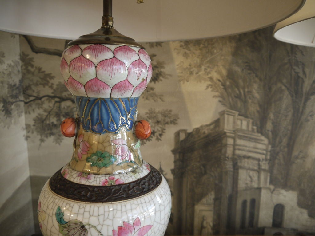 Pair of Chinese Crackleware Vases with Lotus Design, as Lamps In Excellent Condition For Sale In New York, NY