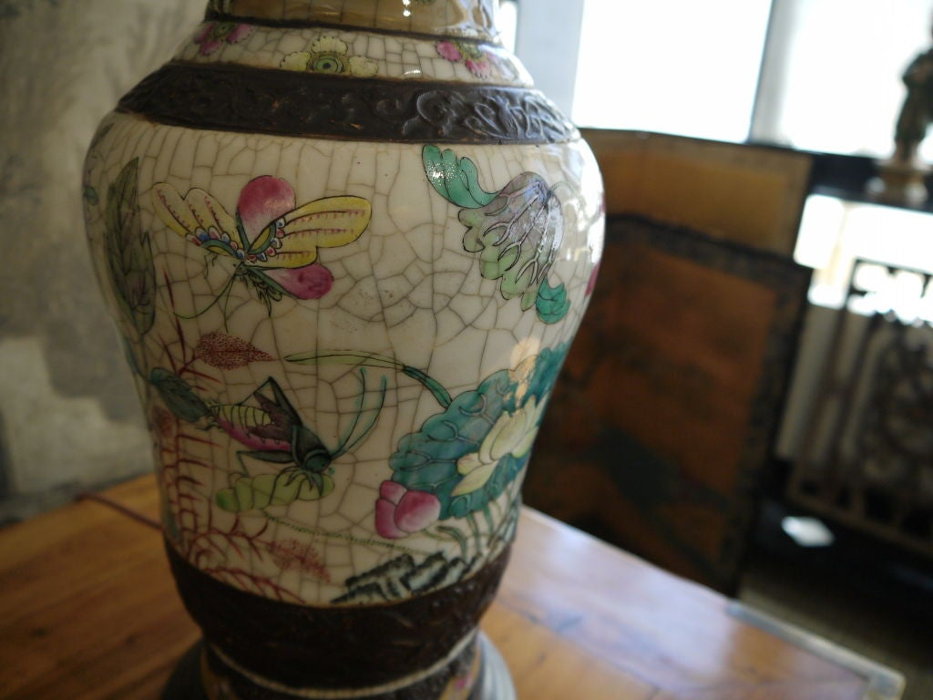 19th Century Pair of Chinese Crackleware Vases with Lotus Design, as Lamps For Sale