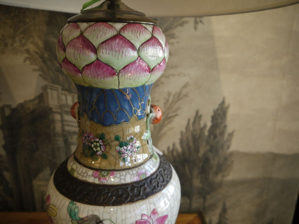 Pair of Chinese Crackleware Vases with Lotus Design, as Lamps For Sale 1