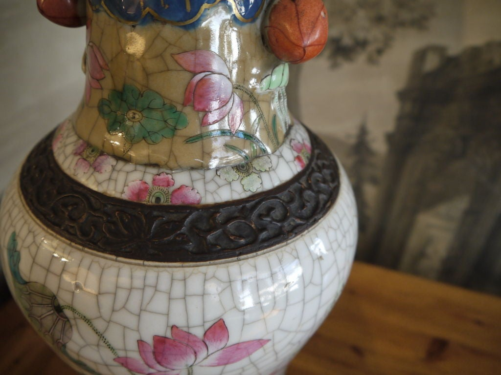 Pair of Chinese Crackleware Vases with Lotus Design, as Lamps For Sale 2
