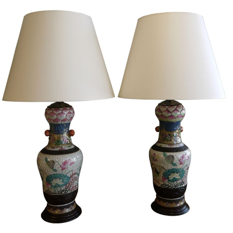 Pair of Chinese Crackleware Vases with Lotus Design, as Lamps For Sale