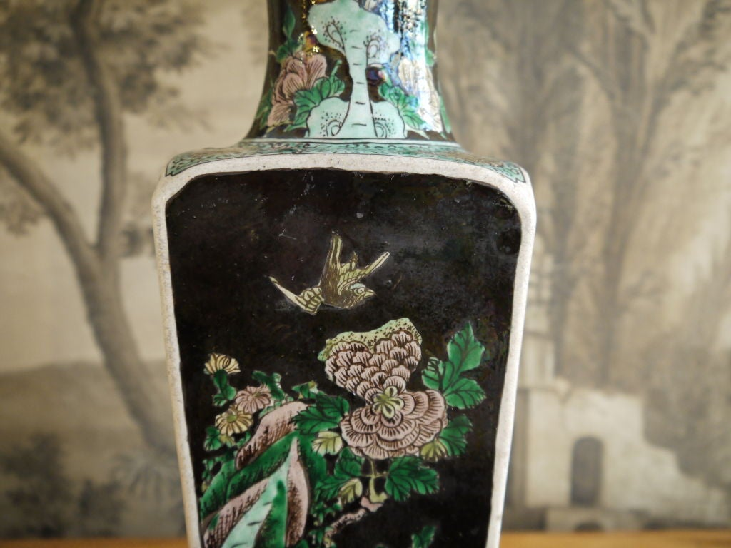 Chinese 19th Century Famille Noire Vase, as Lamp For Sale 1