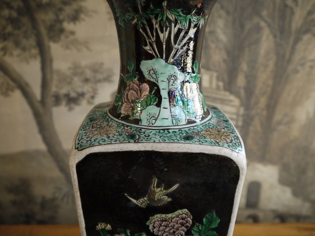 Chinese 19th Century Famille Noire Vase, as Lamp For Sale 2