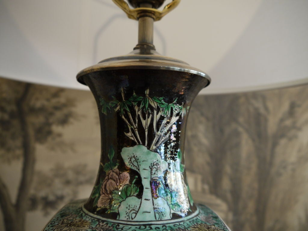 Chinese 19th Century Famille Noire Vase, as Lamp For Sale 3
