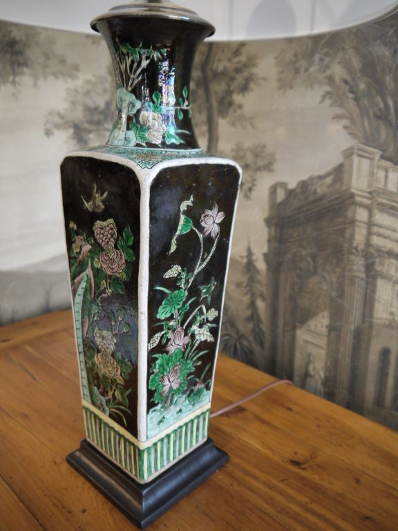 Chinese 19th Century Famille Noire Vase, as Lamp For Sale 4