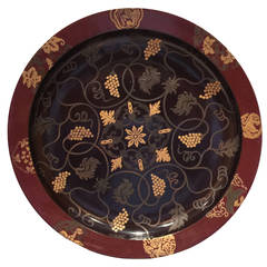 Japanese Lacquer Charger with Hand-Painted Grape Pattern