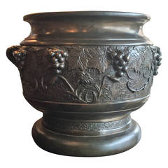Meiji Period Bronze Planter with Grape Motif