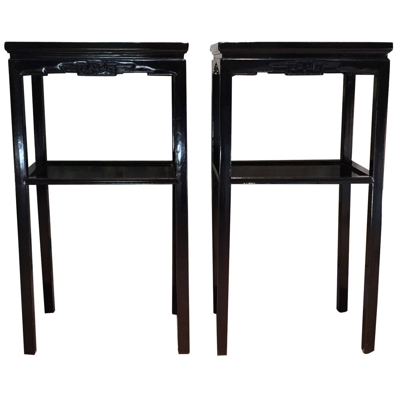 Chinese Black Lacquer Pedestal Tables 1