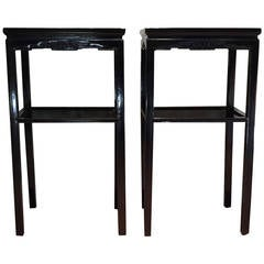 Chinese Black Lacquer Pedestal Tables
