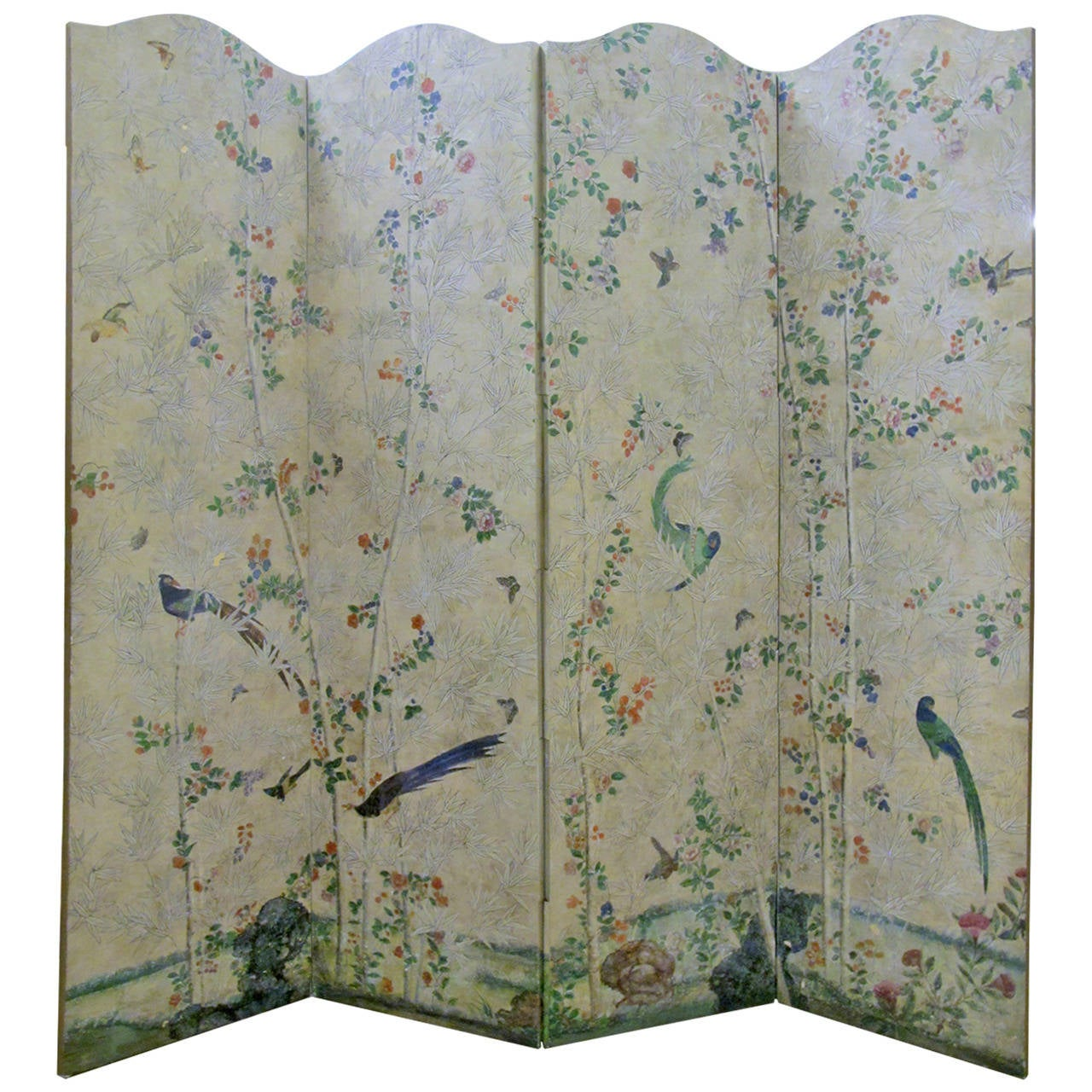 18th Century Hand-Painted Chinese Wallpaper Screen 1