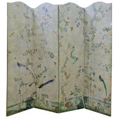 18th Century Hand-Painted Chinese Wallpaper Screen