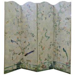 18th Century Handpainted Chinese Wallpaper Screen
