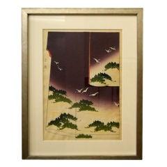 Antique Japanese Woodblock Print of Kimono Design