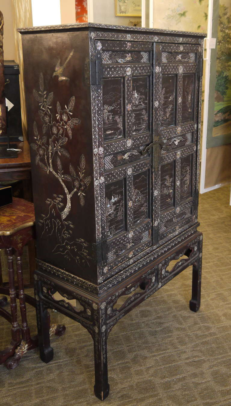 South Korean Antique Cabinet With Mother Of Pearl For