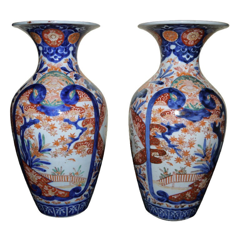 Pair of Imari Vases For Sale