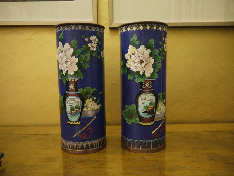 Hand-Crafted Pair of Cloisonne Vases For Sale
