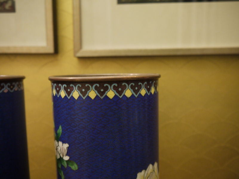 Mid-20th Century Pair of Cloisonne Vases For Sale