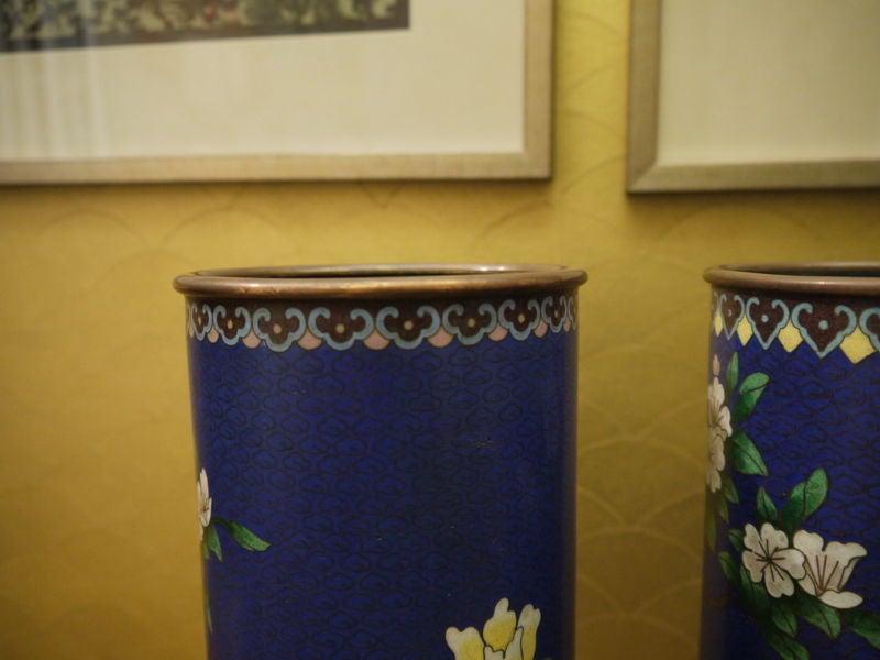 Enamel Pair of Cloisonne Vases For Sale