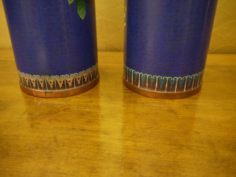 Pair of Cloisonne Vases For Sale 1