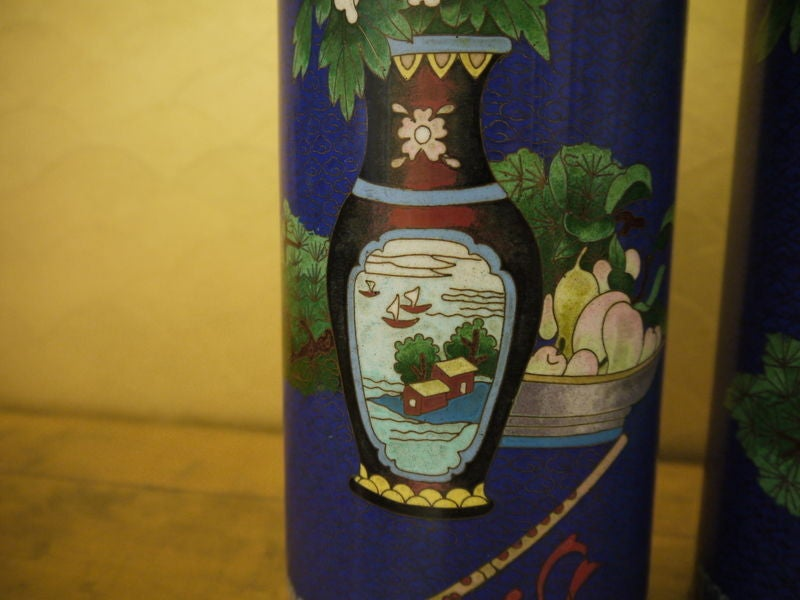 Pair of Cloisonne Vases For Sale 2