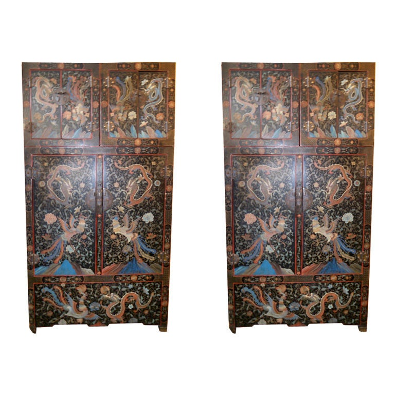 Pair of Large Lacquer Cabinets 1