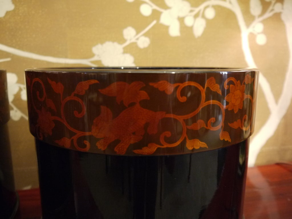 Pair of Japanese Lacquer Hibachis 3