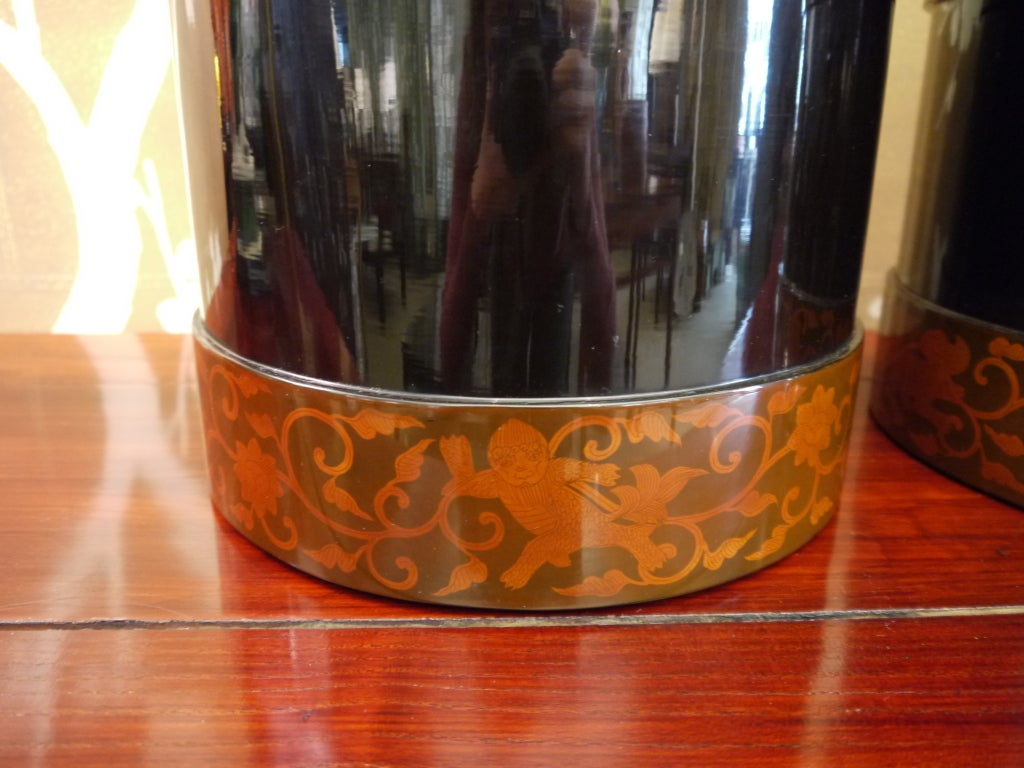 Pair of Japanese Lacquer Hibachis 4