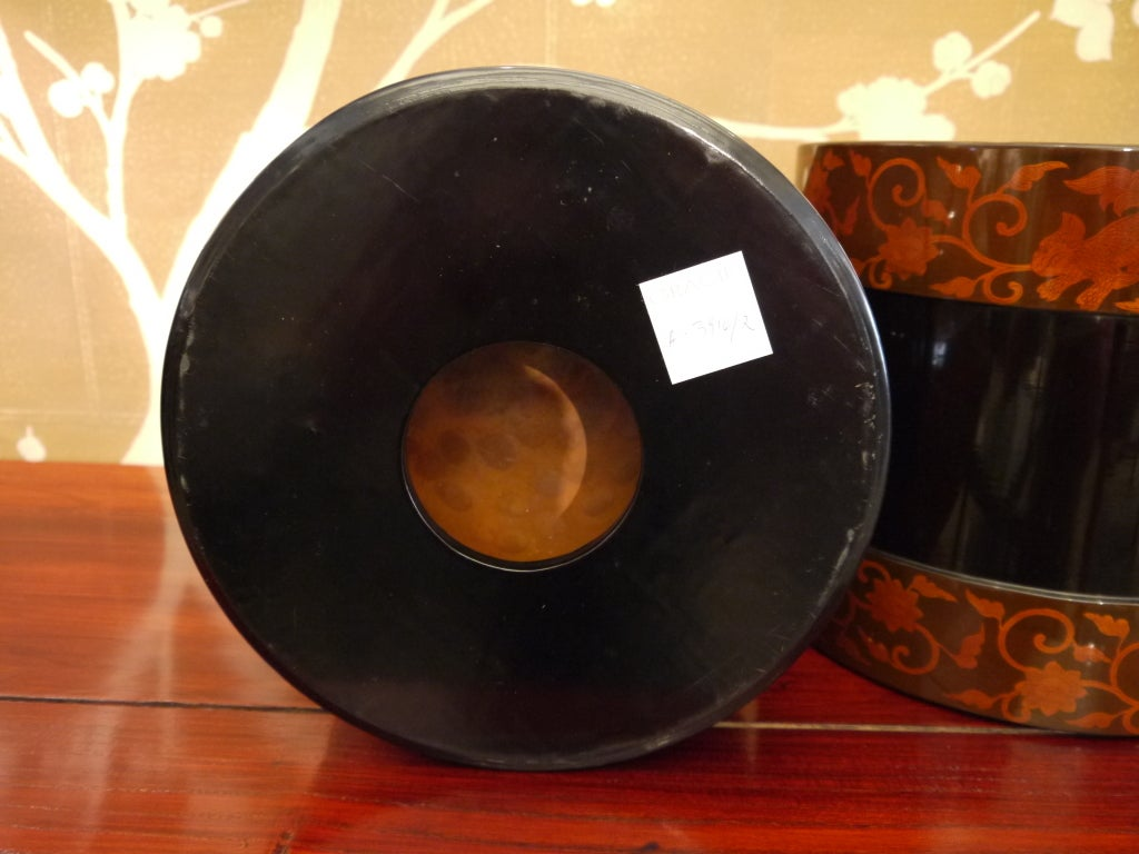 Pair of Japanese Lacquer Hibachis For Sale 2