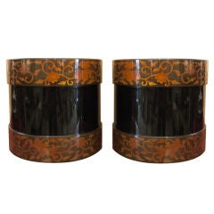 Pair of Japanese Lacquer Hibachis