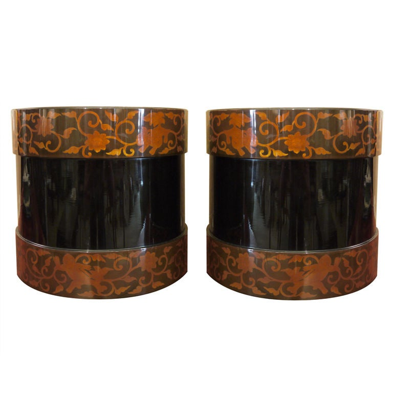 Pair of Japanese Lacquer Hibachis 1