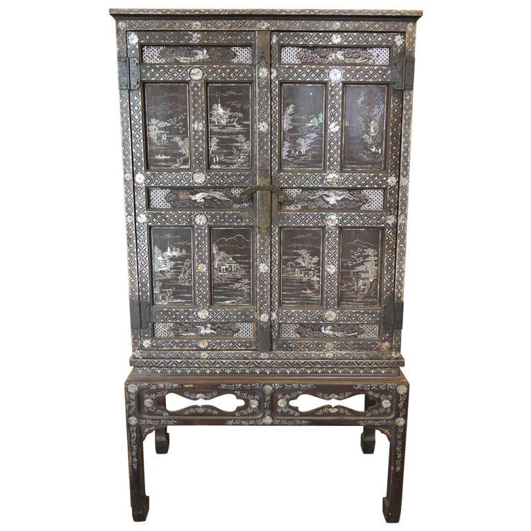 Antique Korean Cabinet With Mother Of Pearl At 1stdibs